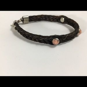 Jewelry - Horsehair bracelet with pink accent stones